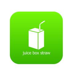 juice box straw icon green vector image