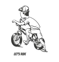 Kid starting bmx ride vector