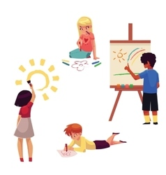 Kids drawing with pencils crayons paints vector