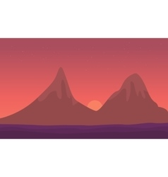 Landscape mountain at sunrise of silhouette vector