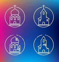 Linear churches icons for print or web design vector