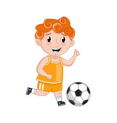 Little boy in sport uniform playing in soccer vector