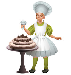 little girl cook uniform decorated chocolate cake vector image