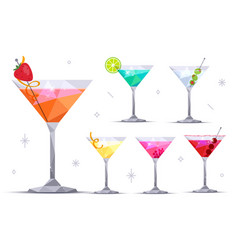 Martini cocktail glasses set vector