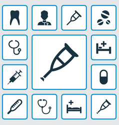 Medicine icons set with injection stand spike vector
