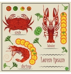 Menu cancer shrimp crab lemon vector image