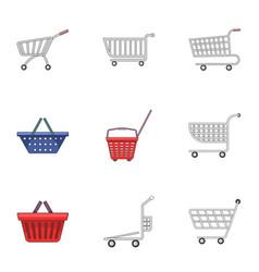 Metal cart icons set cartoon style vector