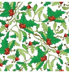 Mistletoe Holly Berries Seamless Pattern vector