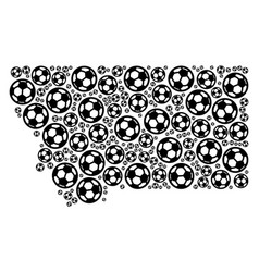 Montana state map composition of football balls vector