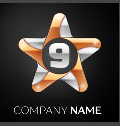 Number nine logo symbol in the colorful star on vector