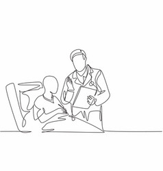one single line drawing young male doctor vector image