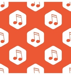 Orange hexagon 16th note pattern vector