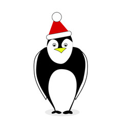 penguin in red hat santa claus isolated on white vector image
