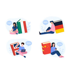 people learning a new language online vector image
