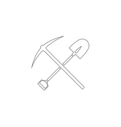 pick and shovel crossed flat icon vector image