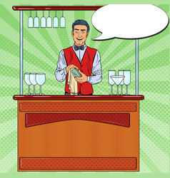 Pop art barista wiping glass in nightclub bar vector