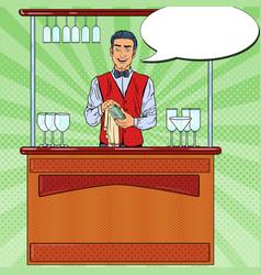 Pop art barista wiping glass in nightclub bar vector