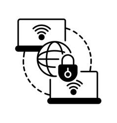 Private wan black linear icon vector