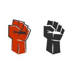 Red clenched fist symbol revolution vector
