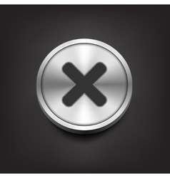 Rejected sign on silver button vector image