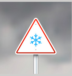 Road sign with snowflake vector