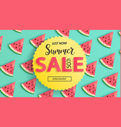 sale banner for summer 2020 with watermelons vector image