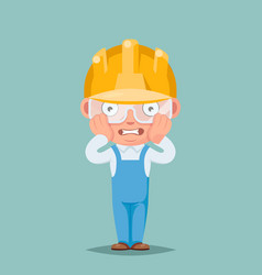 Scared panic shock cute builder engeneer mascot vector
