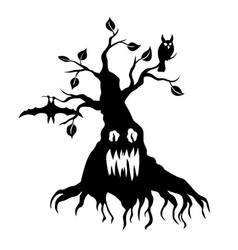 Scary tree silhouette vector