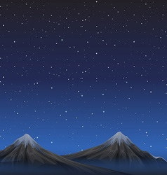 Scene with mountains at night vector