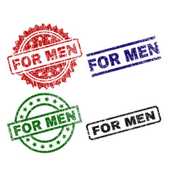 Scratched textured for men seal stamps vector
