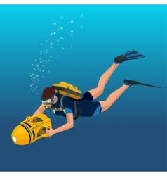 Scuba diverflat isometric Underwater vector