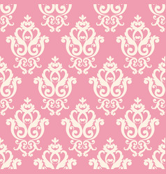 seamless damask pattern pink texture in vintage vector image vector image