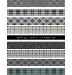 Seamless tartan plaid banner set vector