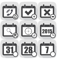 set flat icon on the calendar vector image