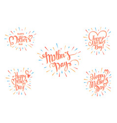 set happy mother s day greeting card vector image