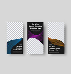 Set vertical black web banners with place for vector