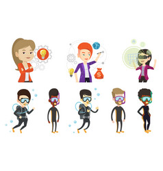 Set with people traveling vector