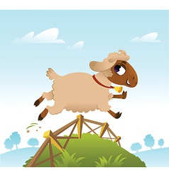 Sheep jumping over fence vector