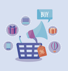 shopping basket with set icons vector image