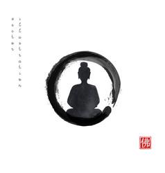 Silhouette meditating buddha in black enso zen vector