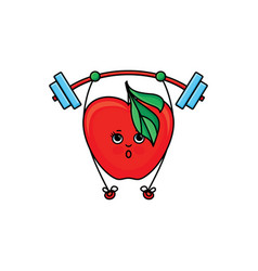 Sketch strawberry lifting barbell vector