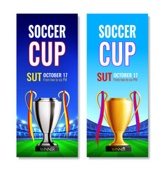 Soccer cup vertical banners vector