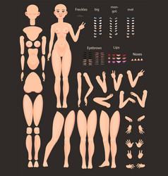 Stylized character set for animation vector