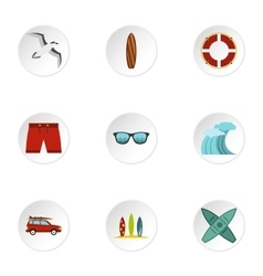 Surfing in sea icons set flat style vector