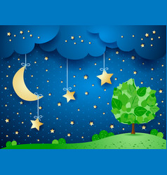 Surreal background with moon and tree vector