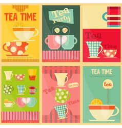 Tea set posters vector