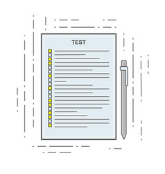 The test icon in linear flat style poll exam or vector