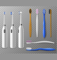 Toothbrushes mockup realistic toothbrush vector