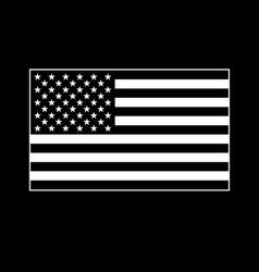 usa flag white on black background vector image