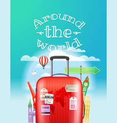 Vacation travelling concept travel with bag vector